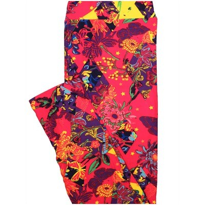 LuLaRoe Tall Curvy TC Butterfly Stars Butterlfies Red Yellow Blue Floral Leggings (TC fits Adults 12-18) TC-7223-H12