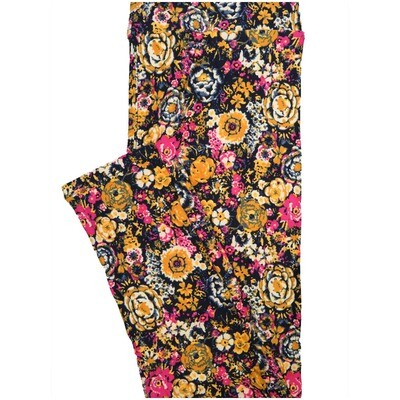 LuLaRoe Tall Curvy TC Roses Flowers Navy Gold Pink White Leggings (TC fits Adults 12-18) TC-7225-D6