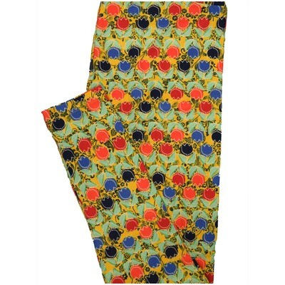 LuLaRoe Tall Curvy TC Black Yellow White Red Purple Floral Stripe Leggings (TC fits Adults 12-18) TC-7226-K8