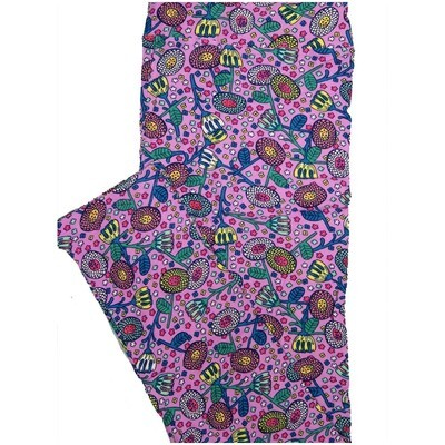 LuLaRoe Tall Curvy TC Lavender Green Yellow Pink Floral Womens Buttery Soft Leggings (TC fits Adults 12-18)