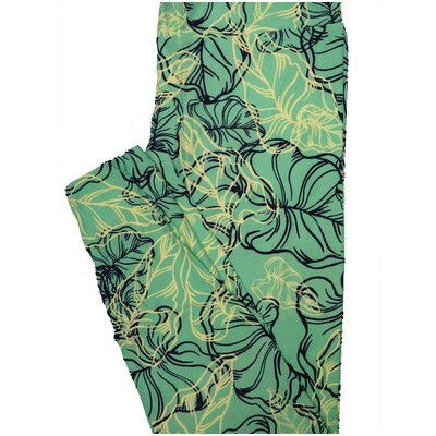 LuLaRoe Tall Curvy TC Elephant Ear Leaves Sea Foam Black Cream Leggings (TC fits Adults 12-18) TC-7229-F19