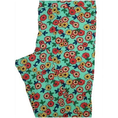 LuLaRoe Tall Curvy TC Light Teal Coral Yellow Floral Womens Buttery Soft Leggings (TC fits Adults 12-18)
