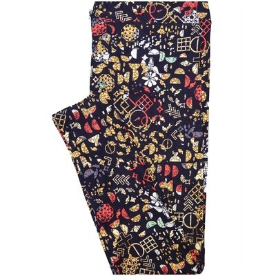 LuLaRoe Tall Curvy TC Navy Cream Pink White Floral Geometric Shapes Teacher Leggings (TC fits Adults 12-18) TC-7223-F11