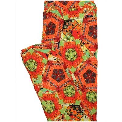 LuLaRoe Tall Curvy TC Patchwork Pentagon Mandala Orange Green Black Geometric Leggings (TC fits Adults 12-18) TC-7228-D20