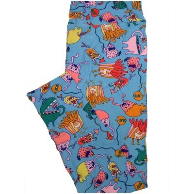 LuLaRoe Tall Curvy TC French Fries Cupcakes Balloons Drinks Blue Green Yellow Coral a Womens Buttery Soft Leggings (TC fits Adults 12-18)