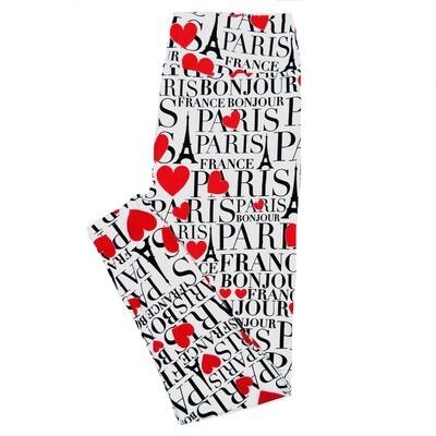 LuLaRoe Tall Curvy TC Paris Eifel Tower France Bonjour Hearts White Black Red Valentines a Womens Buttery Soft Leggings (TC fits Adults 12-18)