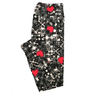LuLaRoe Tall Curvy TC Puzzle Piece Hearts Plaid Black White Gray Red Valentines a Womens Buttery Soft Leggings (TC fits Adults 12-18)