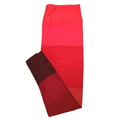 LuLaRoe Tall Curvy TC Solid Thick Stripe Red Pink Valentines So Womens Buttery Soft Leggings (TC fits Adults 12-18)