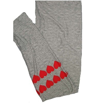 LuLaRoe Tall Curvy TC Solid HeatheRed Gray With Hearts So Womens Buttery Soft Leggings (TC fits Adults 12-18)