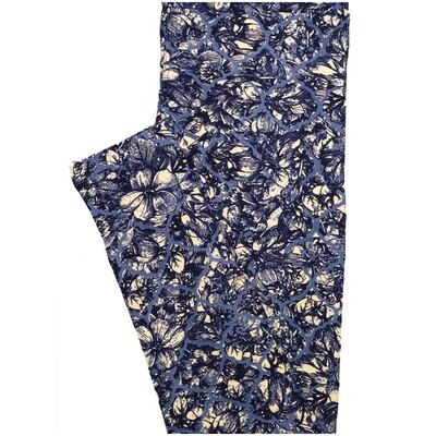 LuLaRoe One Size OS Purple White Floral Geometric Buttery Soft Leggings - OS fits Adults 2-10