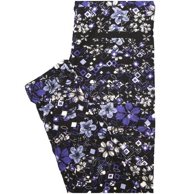 LuLaRoe One Size OS Black Purple White Blue Floral Geometric Buttery Soft Leggings - OS fits Adults 2-10