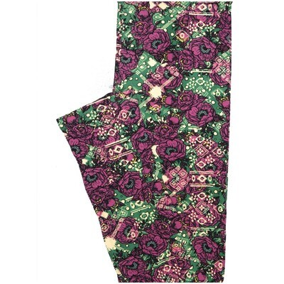 LuLaRoe One Size OS Fucshia White Floral Buttery Soft Leggings - OS fits Adults 2-10
