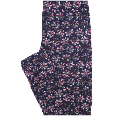 LuLaRoe One Size OS Dark Blue Pink Purple Floral Buttery Soft Leggings - OS fits Adults 2-10