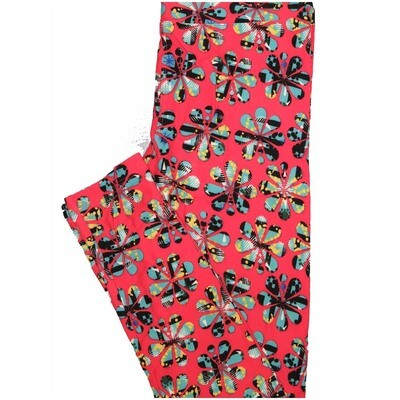 LuLaRoe One Size OS Coral Light Blue Floral Buttery Soft Leggings - OS fits Adults 2-10