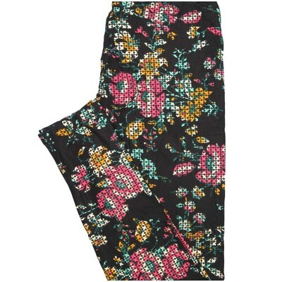 LuLaRoe One Size OS Black Pink Green Yellow Floral Polka Dot Buttery Soft Leggings - OS fits Adults 2-10