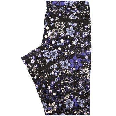 LuLaRoe One Size OS Black White Blue Floral Geometric Buttery Soft Leggings - OS fits Adults 2-10