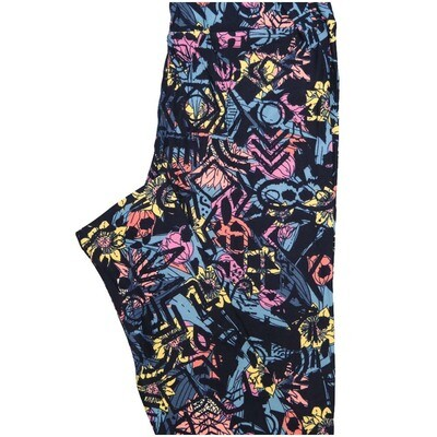 LuLaRoe One Size OS Navy Pink Yellow Blue Floral Geometric Buttery Soft Leggings - OS fits Adults 2-10