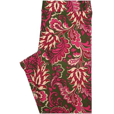 LuLaRoe One Size OS Dark Green Fucshia Cream Floral Buttery Soft Leggings - OS fits Adults 2-10