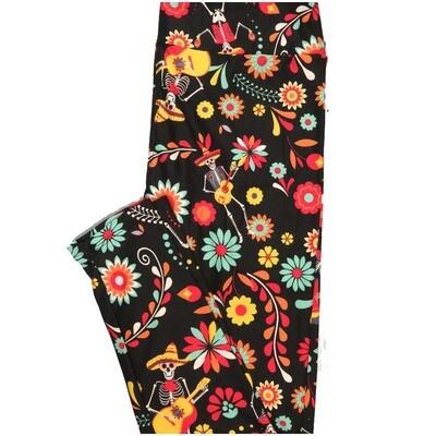 LuLaRoe One Size OS Dios Muertos Guitar Black White Yellow Orange Pink Halloween Floral Buttery Soft Leggings - OS fits Adults 2-10