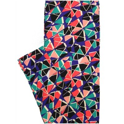 LuLaRoe One Size OS Trippy Black Pink Teal Psychedelic Buttery Soft Leggings - OS fits Adults 2-10