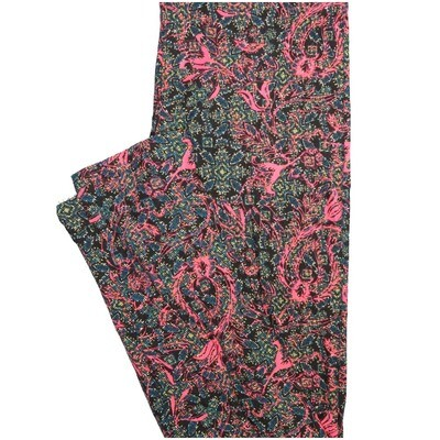 LuLaRoe One Size OS Paisley Black Teal Pink Paisley Buttery Soft Leggings - OS fits Adults 2-10