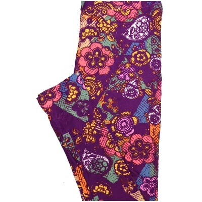 LuLaRoe One Size OS Paisley Blue pea Yellow White Floral Paisley Buttery Soft Leggings - OS fits Adults 2-10