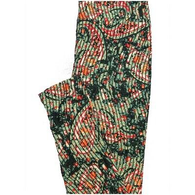 LuLaRoe One Size OS Paisley Stripe Dark Green Orange White Stripe Paisley Buttery Soft Leggings - OS fits Adults 2-10