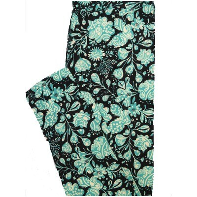 LuLaRoe One Size OS Paisley Black Dark Mint Yellow Floral Paisley Buttery Soft Leggings - OS fits Adults 2-10