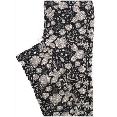 LuLaRoe One Size OS Paisley Black Gray White Floral Paisley Buttery Soft Leggings - OS fits Adults 2-10
