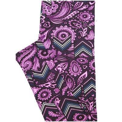 LuLaRoe One Size OS Paisley Chevron Purple Dark Purple Blue White Stripe Paisley Buttery Soft Leggings - OS fits Adults 2-10