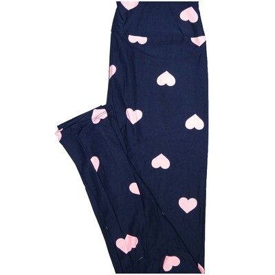 LuLaRoe One Size OS Black Light Pink Polka Dot Hearts Valentines Paisley Buttery Soft Leggings - OS fits Adults 2-10