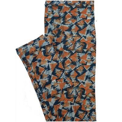 LuLaRoe One Size OS Stripe Dark Blue Light Blue Burnt Orange Geometric Stripe Buttery Soft Leggings - OS fits Adults 2-10