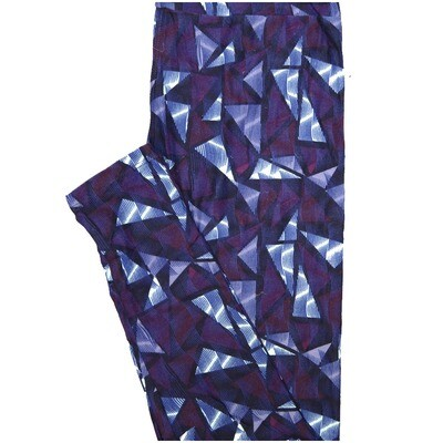 LuLaRoe One Size OS Purple Blue White Triangles Geometric Stripe Buttery Soft Leggings - OS fits Adults 2-10