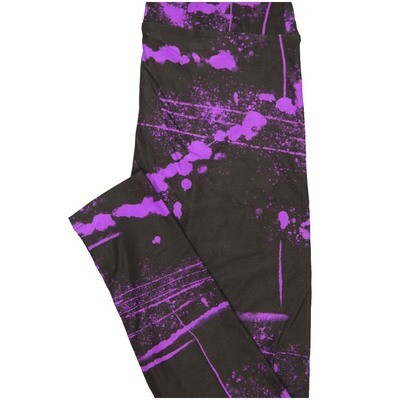 LuLaRoe One Size OS Black Pink Splatter Halloween Geometric Buttery Soft Leggings - OS fits Adults 2-10