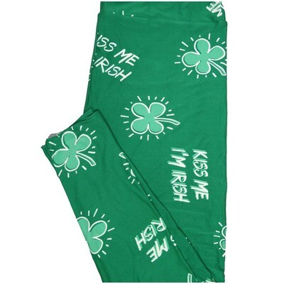 LuLaRoe TCTWO TC2 Kiss Me Im Irish St Patricks 4 leaf Clove Shamrock Buttery Soft Leggings - TC2 fits Adults 18+
