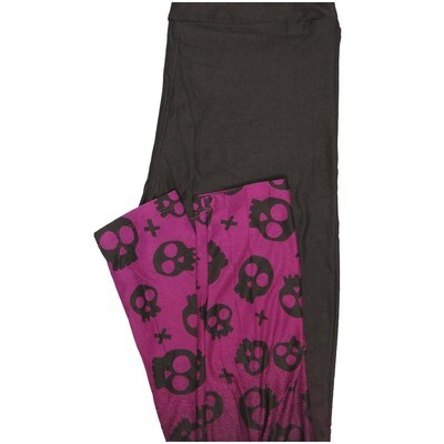 LuLaRoe One Size OS Black With Magenta Skulls at leg Bottoms Halloween Buttery Soft Leggings - OS fits Adults 2-10
