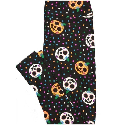 LuLaRoe One Size OS Jackolanterns Pumpkins Dios Muertos Black White Orange Pink Halloween Polka Dot Buttery Soft Leggings - OS fits Adults 2-10