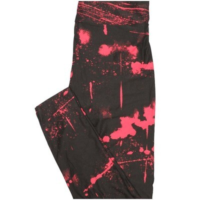 LuLaRoe One Size OS Spatter Black Pink Halloween Buttery Soft Leggings - OS fits Adults 2-10