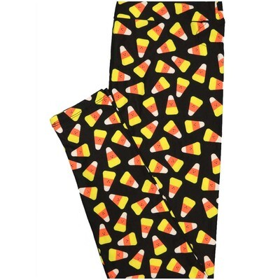 LuLaRoe One Size OS Candy Corn Black Yellow Orange Halloween Buttery Soft Leggings - OS fits Adults 2-10