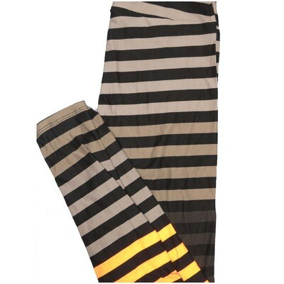 LuLaRoe One Size OS Black Yellow Teal Gray Stripe Halloween Buttery Soft Leggings - OS fits Adults 2-10
