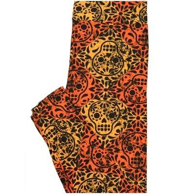 LuLaRoe One Size OS Dios Muertos Skulls Mandala Orange Black Halloween Buttery Soft Leggings - OS fits Adults 2-10