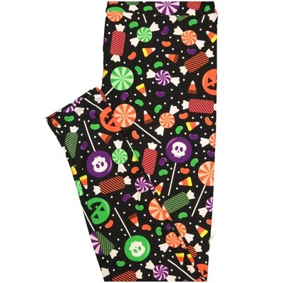 LuLaRoe One Size OS Candy Skulls Trick Orange Treats Corn Black Purple White Orange Red Yellow Halloween Polka Dot Buttery Soft Leggings - OS fits Adults 2-10