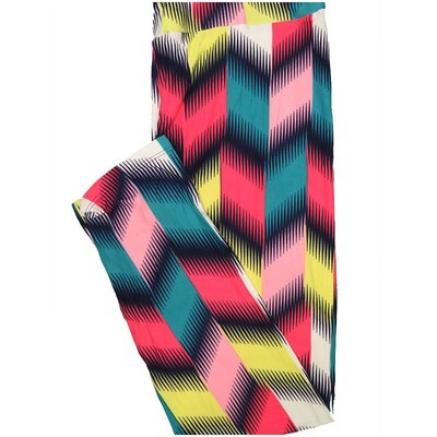 LuLaRoe Tall Curvy TC Trippy Zig Zag Stripe Navy Yellow Pink Leggings (TC fits Adults 12-18) TC-7224-D7