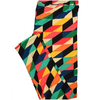 LuLaRoe Tall Curvy TC Black Yellow Teal Navy 3D Hexagon Geometric Leggings (TC fits Adults 12-18) TC-7222-B16
