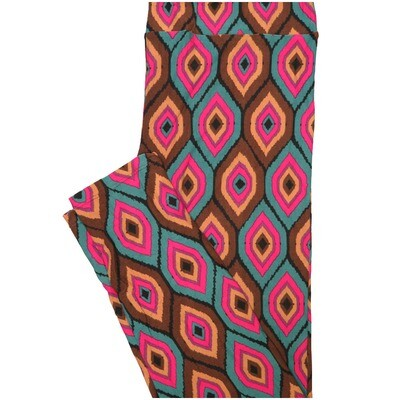 LuLaRoe Tall Curvy TC Trippy Polka Dot Diamond Brown Turquoise Fucshia Geometric Leggings (TC fits Adults 12-18) TC-7224-H7