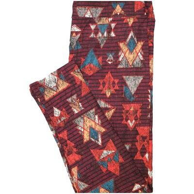 LuLaRoe Tall Curvy TC Brown Blue Pink Stripe Geometric Leggings (TC fits Adults 12-18) TC-7224-J7