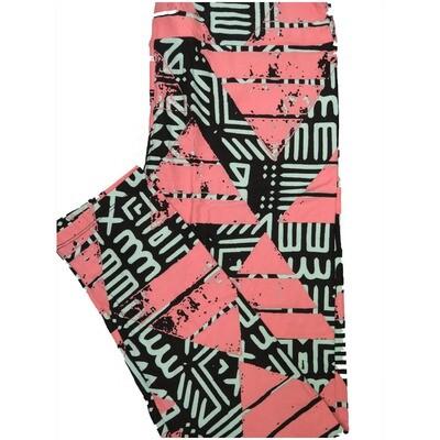 LuLaRoe Tall Curvy TC Black Pink Blue Pyramid Geometric Leggings (TC fits Adults 12-18) TC-7225-J6