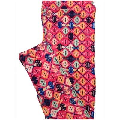 LuLaRoe Tall Curvy TC Checkerboard Dark Pink Orange Mint Black Geometric Polka Dot Womens Buttery Soft Leggings (TC fits Adults 12-18)