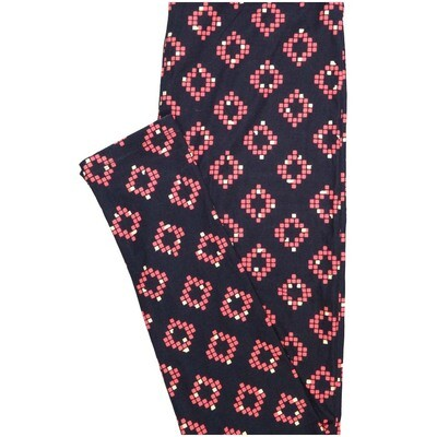 LuLaRoe One Size OS Checkerboard Black Pink Geometric Polka Dot Buttery Soft Leggings - OS fits Adults 2-10