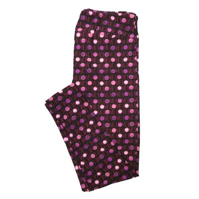 LuLaRoe One Size OS Love Polka Dots Black Purple Pink Valentines Polka Dot Buttery Soft Leggings - OS fits Adults 2-10